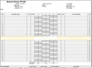 Panel Schedule Template by Residential Electrical Panel Schedule Template