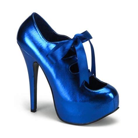 bordello shoes bordello teeze 09 metallic blue platform pumps bordello