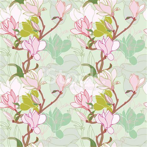 green pattern kimono magnolia twig on sage green background seamless pattern