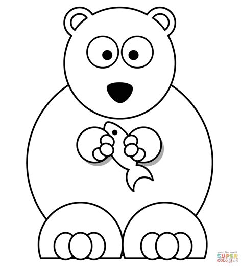 cartoon bear coloring page cartoon polar bear with fish super coloring