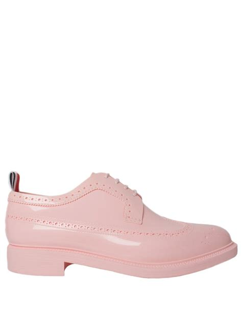 thom browne patent longwing brogue shoe pink in pink for