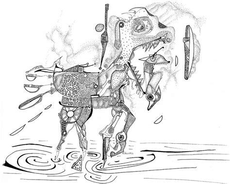 merry go round horse drawing by regina valluzzi