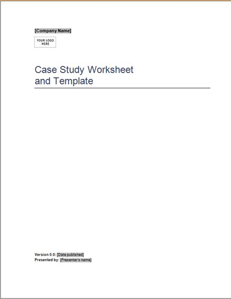 case study worksheet and template word excel templates