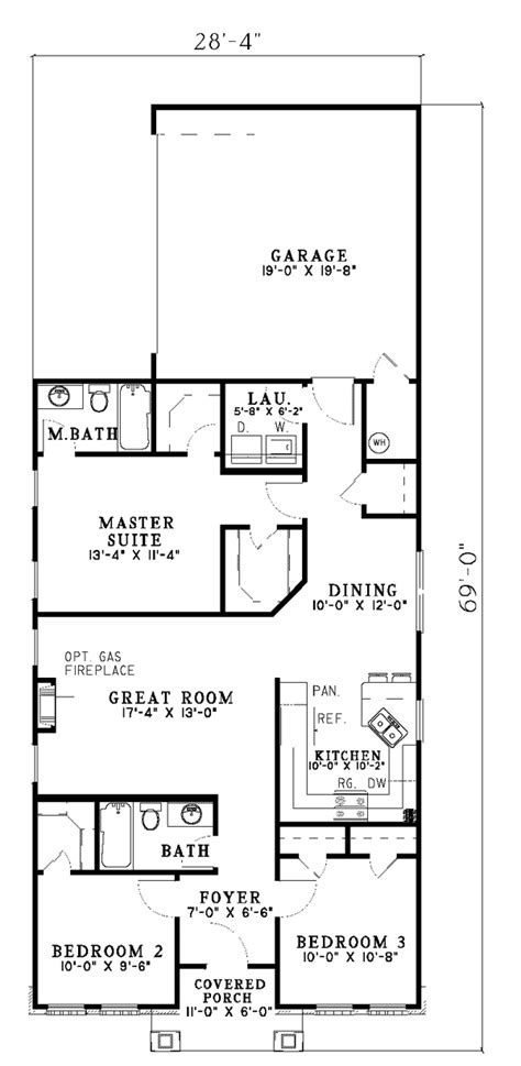 Narrow Lot Ranch House Plans by Hemistone Narrow Lot Ranch Home Plan 055d 0225 House