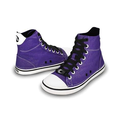 Sale Crocs Hover Sneak crocs hover sneak hi top ultraviolet black retro styled classic sneaker with canvas