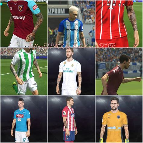 tattoo pack pes 2018 pes 2018 tattoo repack by galacton fedtr pes patch