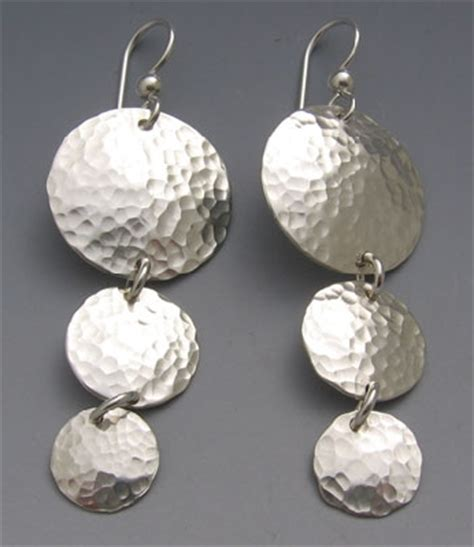 silver bench jewelry hammered silver earrings silver earrings disc hammered