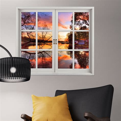 home decor 3d stickers sunset 3d artificial window view 3d wall decals lake view