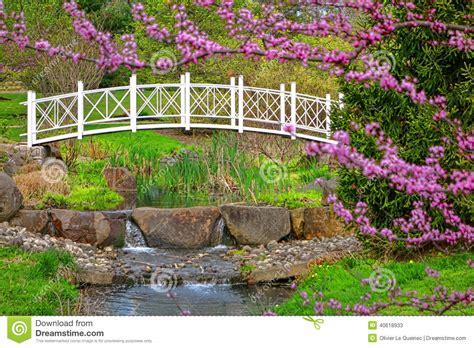 Gardens Bridge Nj by Sayen Park Botanical Gardens Ornamental Bridge Stock Photo