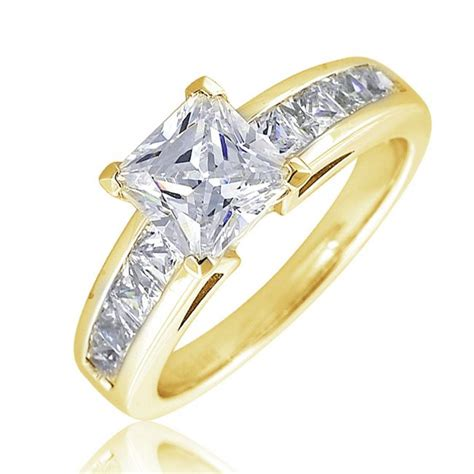 princess cut solitaire ring with 8 channel set