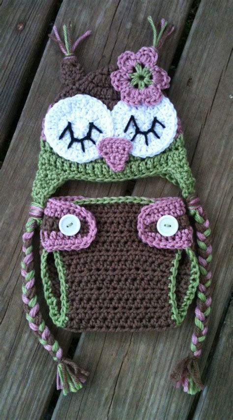 Gw Se F Green Owl newborn baby sleepy crochet owl pink green brown cover n beanie hat set