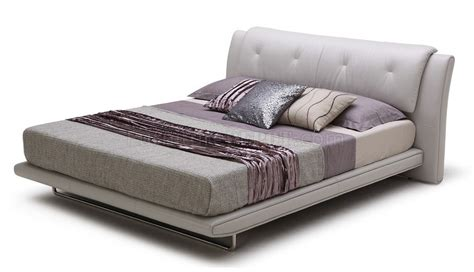 grey leather bed posh bed by beverly hills furniture in light grey full leather