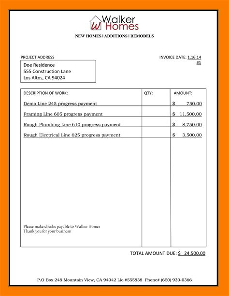 exle of invoices templates construction invoices exles rabitah net