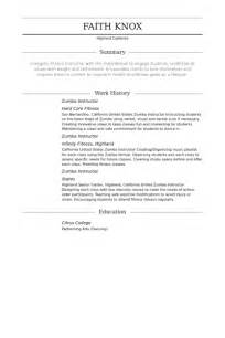 Zumba Resume Samples by Cover Letter Zumba Instructor