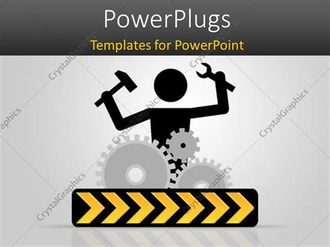 powerpoint template gears and wrenches over yellow powerpoint template 3d graphics of a human character