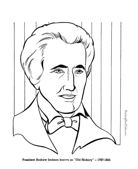 printable pictures presidents andrew jackson coloring pages free and printable