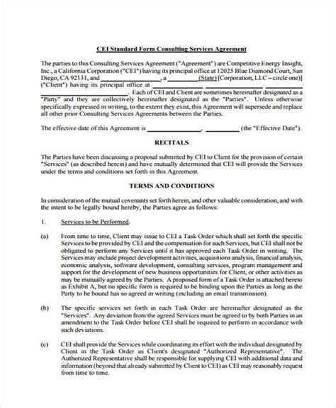 consulting agreement form sles 7 free sle