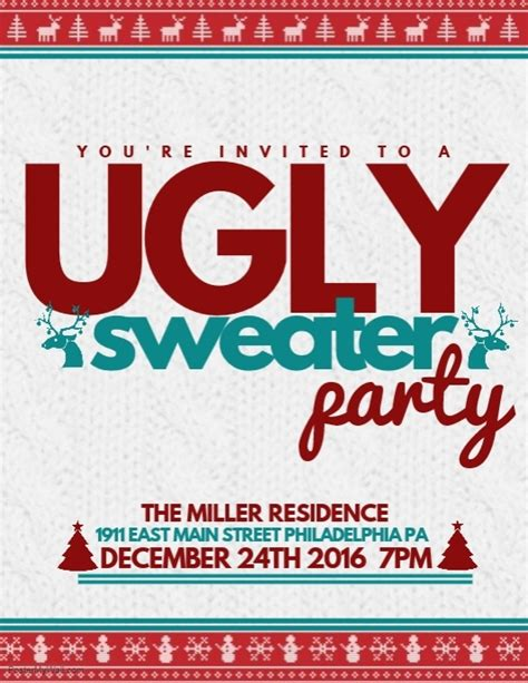 Ugly Sweater Postermywall Sweater Flyer Template