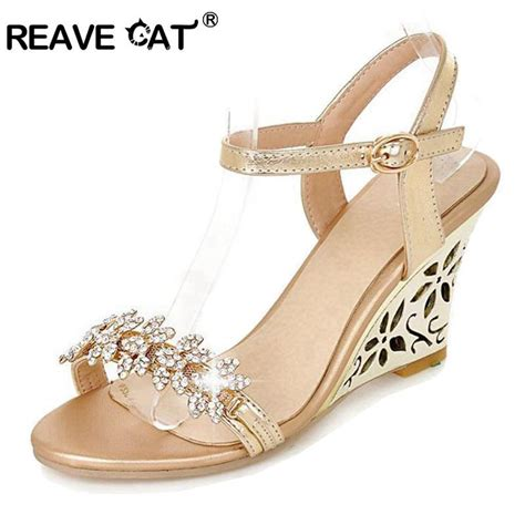 Sale Sandal Wedges P11 reave cat new arrival glittering fashion fretwork heels wedges sandals rhinestone silver gold