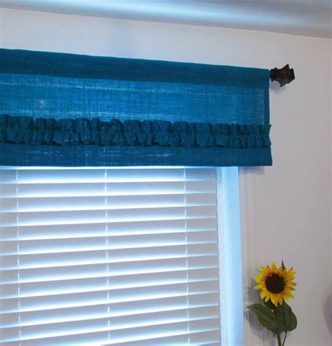 Turquoise Window Treatments Burlap Ruffled Valance Turquoise Rustic By Supplierofdreams