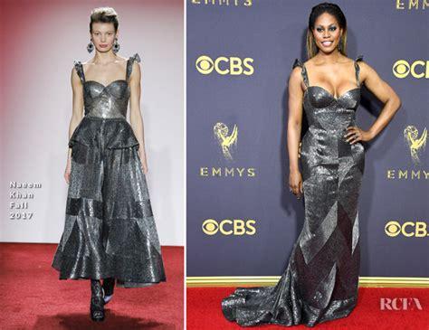 Catwalk To Carpet Naeem Khan Carpet Style Awards 2 by Laverne Cox In Naeem Khan 2017 Emmy Awards Carpet