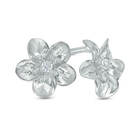 Flower Accent Earrings accent flower stud earrings in sterling silver