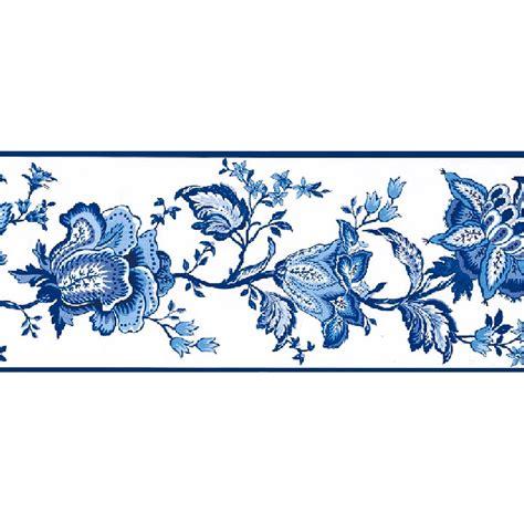 Wallborder B 007 blue white floral border departments diy at b q