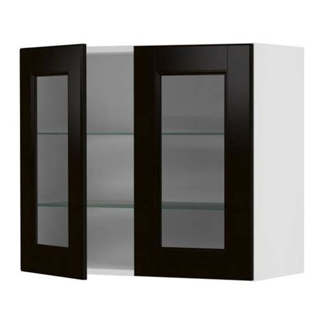 ikea replacement cabinet doors akurum wall cabinet with 2 glass doors white ramsj 246 black brown