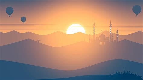 wallpaper sunset mosque hot air balloons landscape