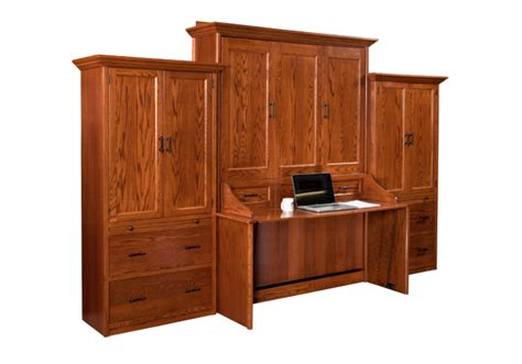 handcrafted murphy bed with desk and side storage units