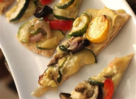 Wedges Pita pita wedges with edamame hummus and grilled veggies from