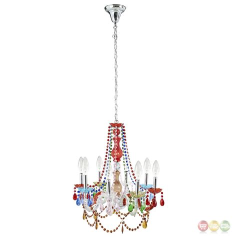 Modern Acrylic Chandelier Palace Modern Acrylic Chandelier With Vividly Colored Beading Multicolored