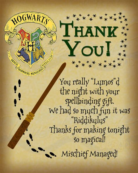 harry potter inspired hogwarts printable name tags printable thank you card harry potter inspired with