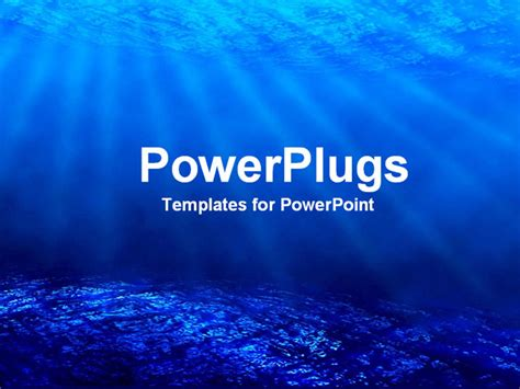 powerpoint template deep sea diving with blue coral ocean