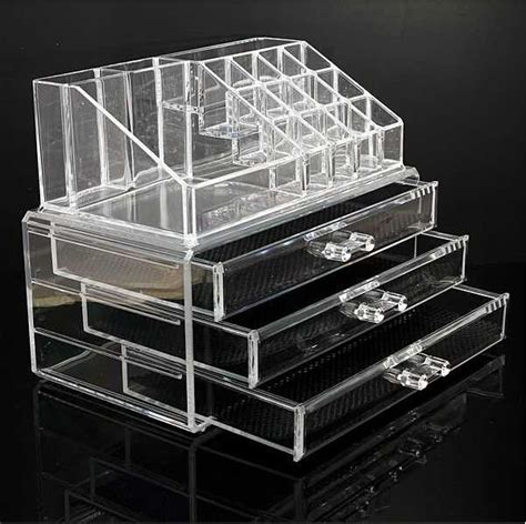 clear acrylic 3 drawers cosmetic makeup display storage