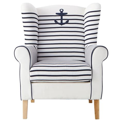 A Striped Armchair by Cotton Striped Armchair In Ivory And Navy Corsaire
