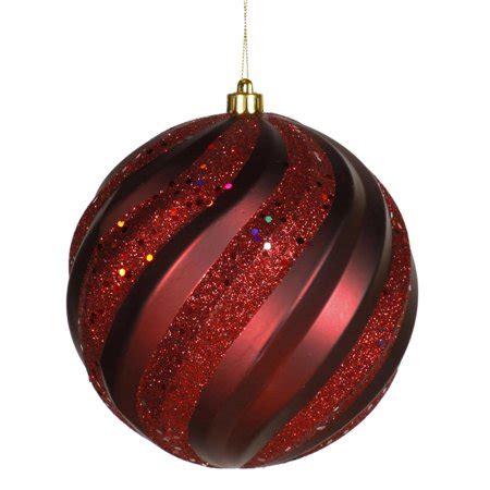 burgendy glittery christmasballs burgundy glitter swirl shatterproof ornament 6 quot 150mm walmart