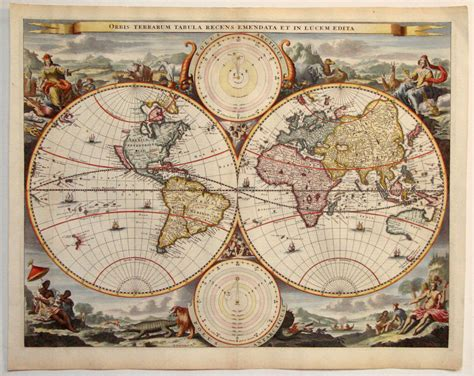 Antique Vintage antique map stoopendaal world