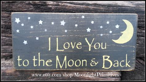 I Love You To The Moon And Back Wooden Signs Nursery Decor I You To The Moon And Back Nursery Decor