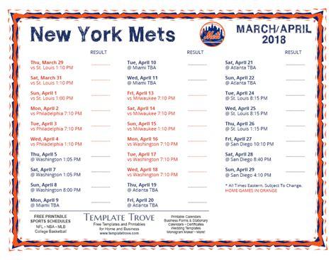 Mets Printable Schedule 2018 printable 2018 new york mets schedule