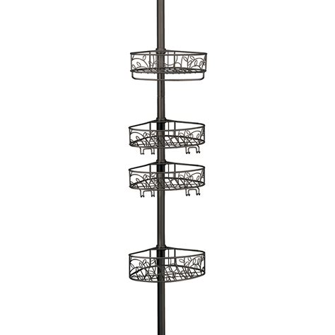 interdesign 174 rain oil rubbed bronze pole shower caddy shop for shower caddy floor to ceiling