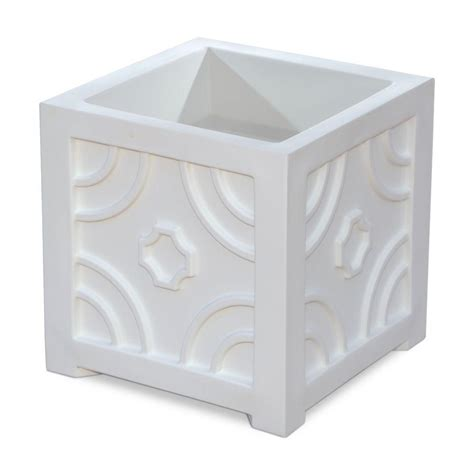 Mayne Savannah 16 In Square White Plastic Planter 5859 W Plastic Planter Boxes