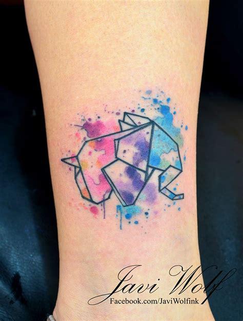 paper elephant tattoo elefante origami en acuarelas by javi wolf tattoo tatoo