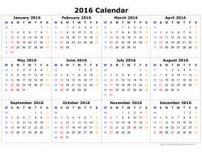 Calendar Yearly Template by Yearly Calendar 2016 Template Calendar Template 2016