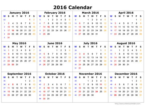 2016 Calendar Year 2016 Yearly Calendar When Is Calendar
