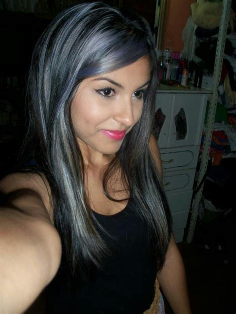 black hair with grey streaks dark hair plus grey highlights hair makeup pinterest