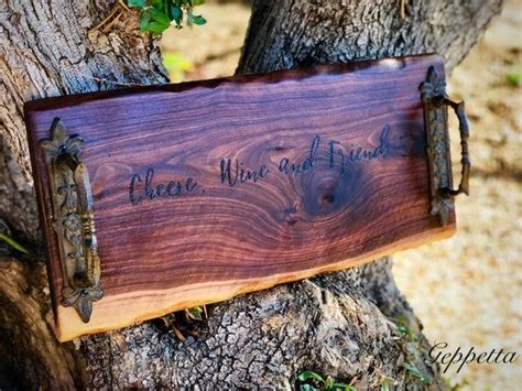 large  edge charcuterie board engraved  handles