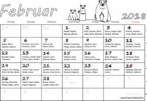 Kalender 2018 Februar Monatskalender Februar 2018 Pdf Drucken Kostenlos