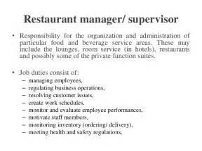 Food And Beverage Supervisor Description by Hospitality Food Beverage Service