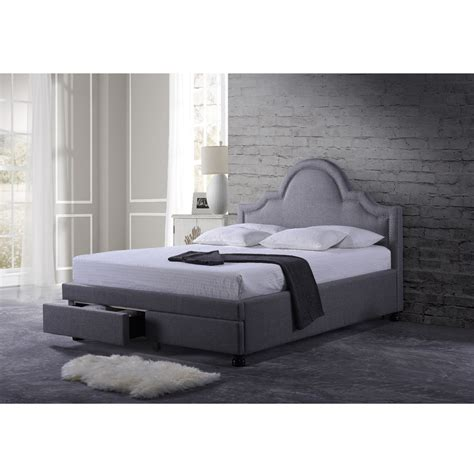 Gray Platform Bed Baxton Studio Brisbane Grey Modern Fabric 2 Drawer Storage Platform Bed Ebay